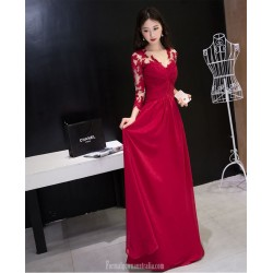 Fashion Floor-length Red Lace Chiffon Evening Dress Long Sleeves Invisible Zipper Engagement Dress With Pleats
