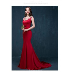 Mermaid Trumpet Sweep Brush Train Backless Red Satin Evening Dress With Beading