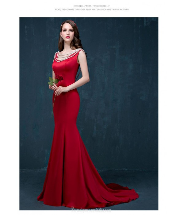 Mermaid/Trumpet Sweep/Brush Train Backless Red Satin Evening Dress With Beading New