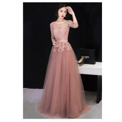 Fashion Floor Length Bean Paste Color Tulle Evening Dress Lace Up Illusion Neck 3 4 Sleeves Party Dress With Appliques