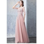 A-line Floor-length Pink Tulle Prom Dress V-neck Backless Lace-up Party Dress With Appliques New