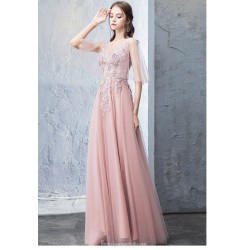A Line Floor Length Pink Tulle Prom Dress V Neck Backless Lace Up Party Dress With Appliques