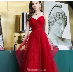 A Line Floor Length Spaghetti Straps Red Tulle Evening Dress V Neck Lace Up Sequined Sparkle &Amp; Shine Dress