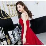 A-line Floor-length Spaghetti Straps Red Tulle Evening Dress V-neck Lace-up Sequined Sparkle & Shine Dress New