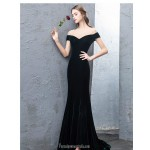 Mermaid/Trumpet Blackish Green Velevet Evening Dress Off The Shoulder Zipper Party Dress New