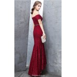 Mermaid/Trumpet Front short Rear Length Red Evening Dress Off The Shoulder Zipper Sequined Sparkle & Shine Dress With Sashes New