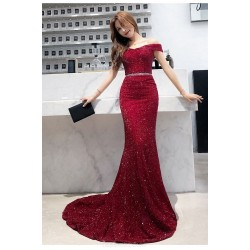Mermaid/Trumpet Sweep/Brush Train Red Evening Dress Off The Shoulder Lace-up Sequined Sparkle & Shine Dress With Sashes