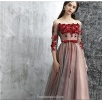 Classy Floor-length Tulle Evening Dress Off The Shoulder Lace-up 3/4 Sleeves Party Dress With Ribbons/Appliques New