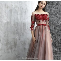 Classy Floor Length Tulle Evening Dress Off The Shoulder Lace Up 3 4 Sleeves Party Dress With Ribbons Appliques