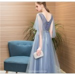 A-line Floor-length Haze Blue Tulle Evening Dress V-neck Lace-up Sequined Sparkle & Shine Dress With Sequines New