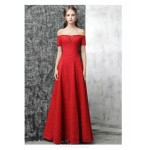 A-line Floor-length Red Lace Evening Dress Off The Shoulder Lace-up Engagement Dress With Sequines New