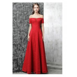A-line Floor-length Red Lace Evening Dress Off The Shoulder Lace-up Engagement Dress With Sequines