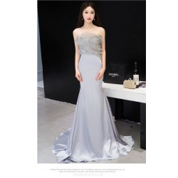 Mermaid/Trumpet Silver Court/Train Satin Evening Dress Fashion Strapless Lace-up Party Dress