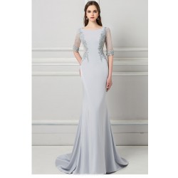 Mermaid Trumpet Sweep Brush Train Silver Satin Evening Dress Scoop Neck Invisible Zipper Half Sleeves Party Dress With Appliques Sequines
