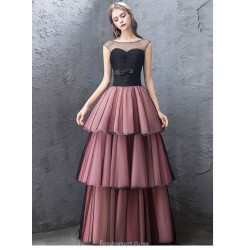 Fashion Floor Length Black Burgundy Organza Evening Dress Illusion Neck Lace Up Pengpeng Dress