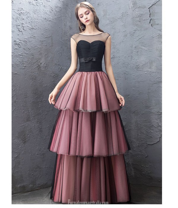 Fashion Floor-length Black Burgundy Organza Evening Dress Illusion-neck Lace-up Pengpeng Dress New