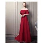 Contemporary Sweep/Brush Train Red Satin Evening Dress Off The Shoulder Lace-up Party Dress With Beading New