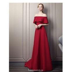 Contemporary Sweep/Brush Train Red Satin Evening Dress Off The Shoulder Lace-up Party Dress With Beading