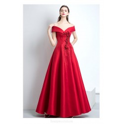 Queen's Aura Off The Shoulder Lace-up Long Red Satin Evening Dress With Appliques/Sequines