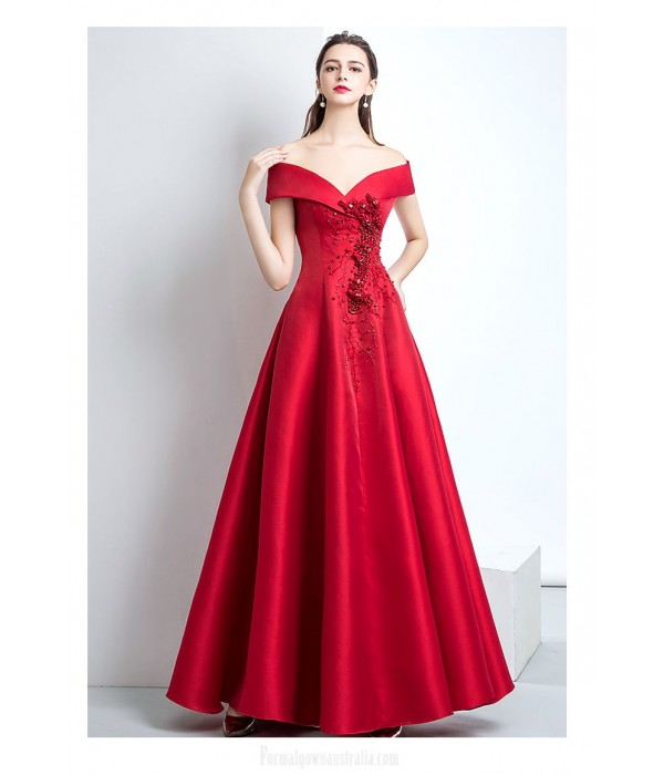 Queen's Aura Off The Shoulder Lace-up Long Red Satin Evening Dress With Appliques/Sequines New