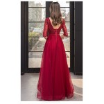 Fashion Floor-length Red Tulle Evening Dress V-neck Half Sleeves Backless Lace-up Party Dress With Beading New