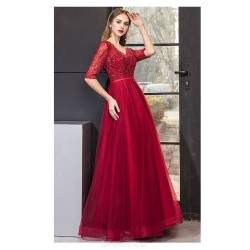 Fashion Floor-length Red Tulle Evening Dress V-neck Half Sleeves Backless Lace-up Party Dress With Beading