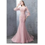 Mermaid/Trumpet Court/Train Pink Tulle Evening Dress Backless Lace-up Long Sleeves Party Dress With Appliquins/Sequines New
