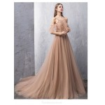 Noble Sweep/Brush Train Deep Champagne Tulle Evening Dress Backless Lace-up Jewel-neck Party Dress With Appliques/Beading New