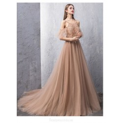 Noble Sweep Brush Train Deep Champagne Tulle Evening Dress Backless Lace Up Jewel Neck Party Dress With Appliques Beading