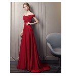 Fashion Sweep/Brush Train Red Satin Evening Dress Off The Shoulder Lace-up Engagement Dress With Appliques/Sequines New
