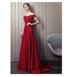 Fashion Sweep Brush Train Red Satin Evening Dress Off The Shoulder Lace Up Engagement Dress With Appliques Sequines