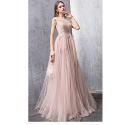 Fashion A-line Blushing Pink Tulle Evening Dress Boat-neck Keyhole BaCK Lace-up Party Dress With Appliques/Sequines