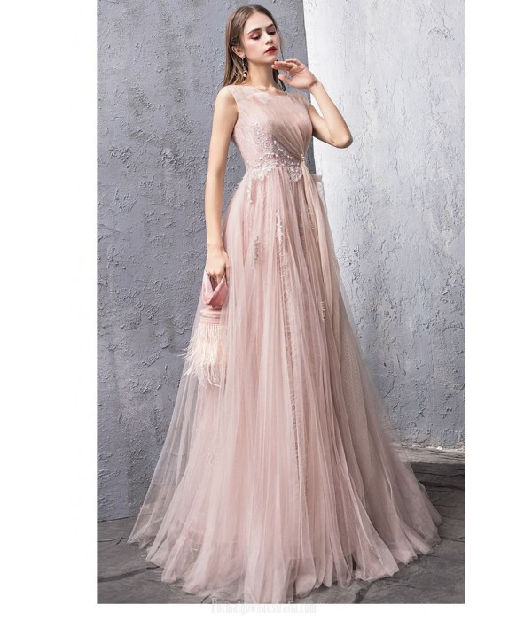Fashion A-line Blushing Pink Tulle Evening Dress Boat-neck Keyhole BaCK Lace-up Party Dress With Appliques/Sequines New