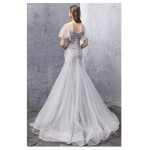 Mermaid/Trumpet Sweep/Brush Train Lace-up Grey Tulle Evening Dress With Appliques/Sequines New