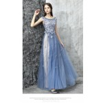 Romantic Floor-length Blue Tulle Evening Dress Boat-neck Lace-up Party Dress With Appliques/Sequines New