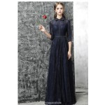 Noble Floor-length Dark Navy Lace Chiffon Evening Dress With Sequines Half Sleeves Fashion lapel Sheath/Column Party Dress New