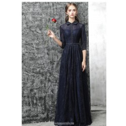Noble Floor-length Dark Navy Lace Chiffon Evening Dress With Sequines Half Sleeves Fashion lapel Sheath/Column Party Dress