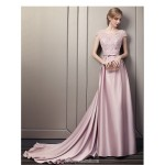 Dignified Atmosphere Court Train Pink Satin Evening Dress Boat-neck Keyhole Back Party Dress With Appliques/Sashes/Sequines New
