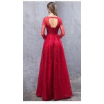 Glamorous Floor-length Red Evening Dress Boat-neck Hollow Back Lace-up Long Sleeves Engagement Dress With Appliques/Sequines New