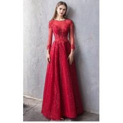 Glamorous Floor-length Red Evening Dress Boat-neck Hollow Back Lace-up Long Sleeves Engagement Dress With Appliques/Sequines