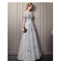 Allure A-line Floor-length Grey Lace Prom Dress Off The Shoulder Lace-up Party Dress With Sequines/Appliques