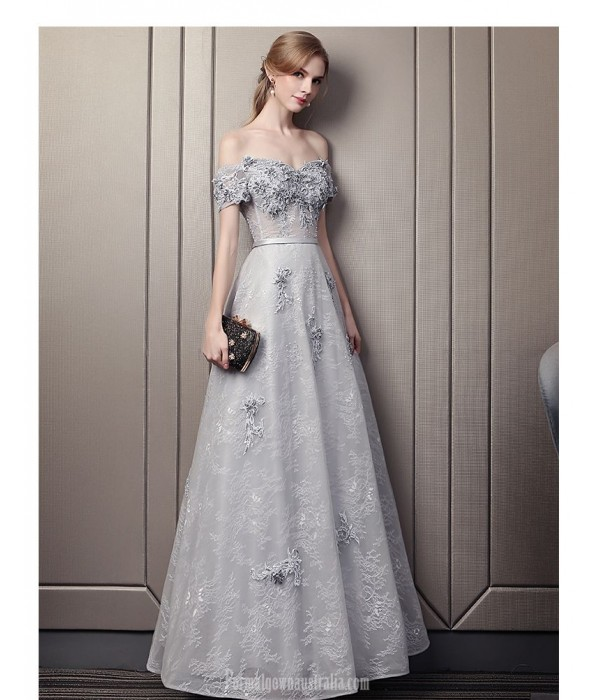 Allure A-line Floor-length Grey Lace Prom Dress Off The Shoulder Lace-up Party Dress With Sequines/Appliques New