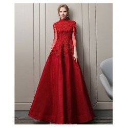 Fashion Temperament Floor-length Red Party Dress Long Sleeves High-neck Hollow Back Lace-up Ball Gown Dress With Appliques/Sequines