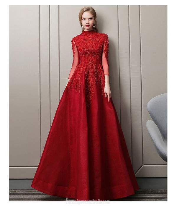 Fashion Temperament Floor-length Red Party Dress Long Sleeves High-neck Hollow Back Lace-up Ball Gown Dress With Appliques/Sequines New