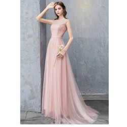Fashion Long Bean Paste Color Zipper Tulle Evening Dress