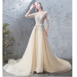 Classic Court/Train Champagne Tulle Evening Dress Scoop-neck V-Back Half Sleeves Party Dress With Appliques/Sequines