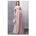 Noble and Elegant Floor-length Peach Color Evening Dress Off The Shoulder Lace-up Party Dress With Appliques/Sequines New