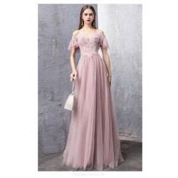 Noble and Elegant Floor-length Peach Color Evening Dress Off The Shoulder Lace-up Party Dress With Appliques/Sequines