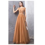 Fashion Floor-length Coffee Tulle Evening Dress Backless Lace-up Illusion-neck Party Dress With Appliques/Sequines New