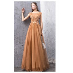 Fashion Floor-length Coffee Tulle Evening Dress Backless Lace-up Illusion-neck Party Dress With Appliques/Sequines